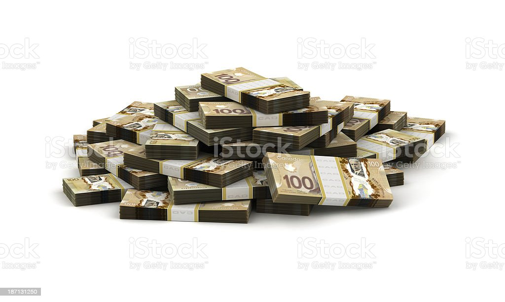 A stack of Canadian dollars on a white background stock photo