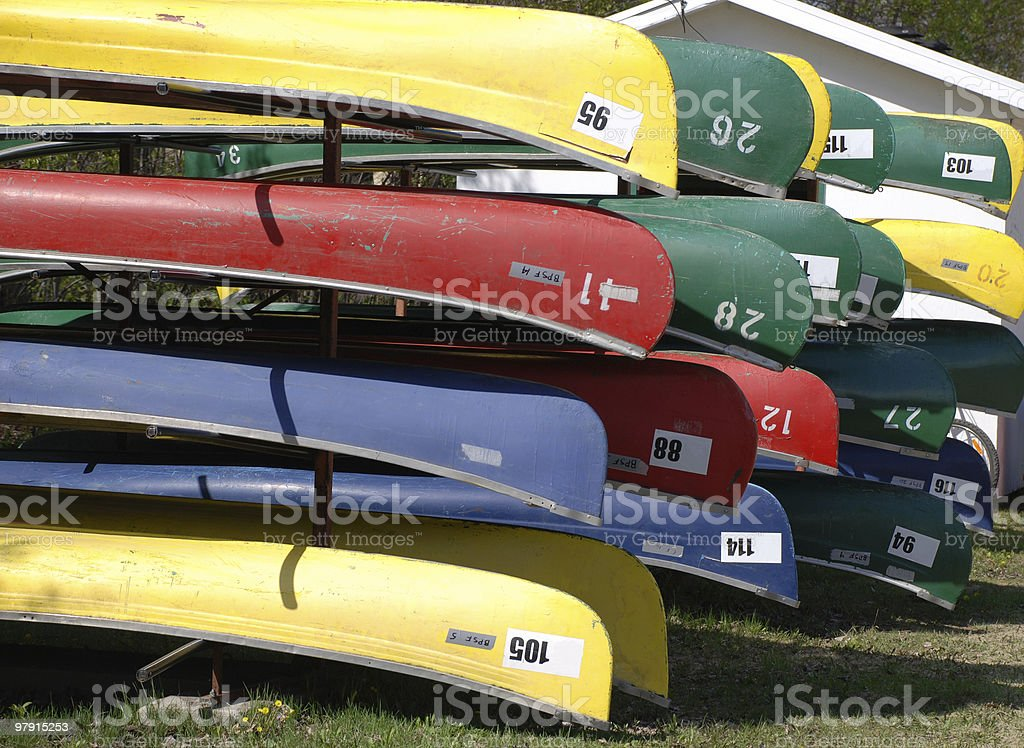 stack of canoes royalty-free stock photo