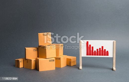 1155852718istockphoto Stack of cardboard boxes and a stand with information chart. rate growth of production of goods and products, increasing economic indicators. exports or imports. Increasing consumer demand 1159201894