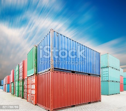 istock Stack of Cargo Containers at the docks 521788789