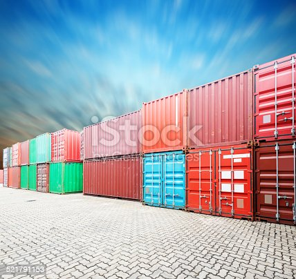 istock Stack of Cargo Containers at the docks 521791153