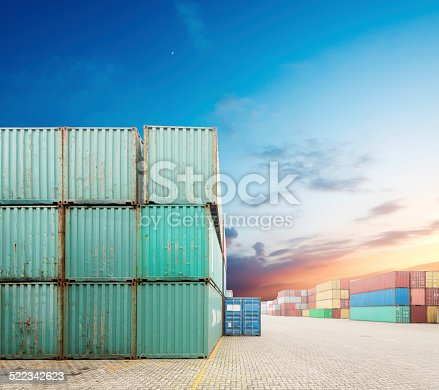 istock Stack of Cargo Containers at the docks 522342623