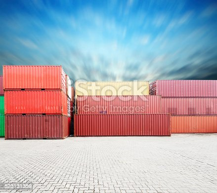 istock Stack of Cargo Containers at the docks 523131359