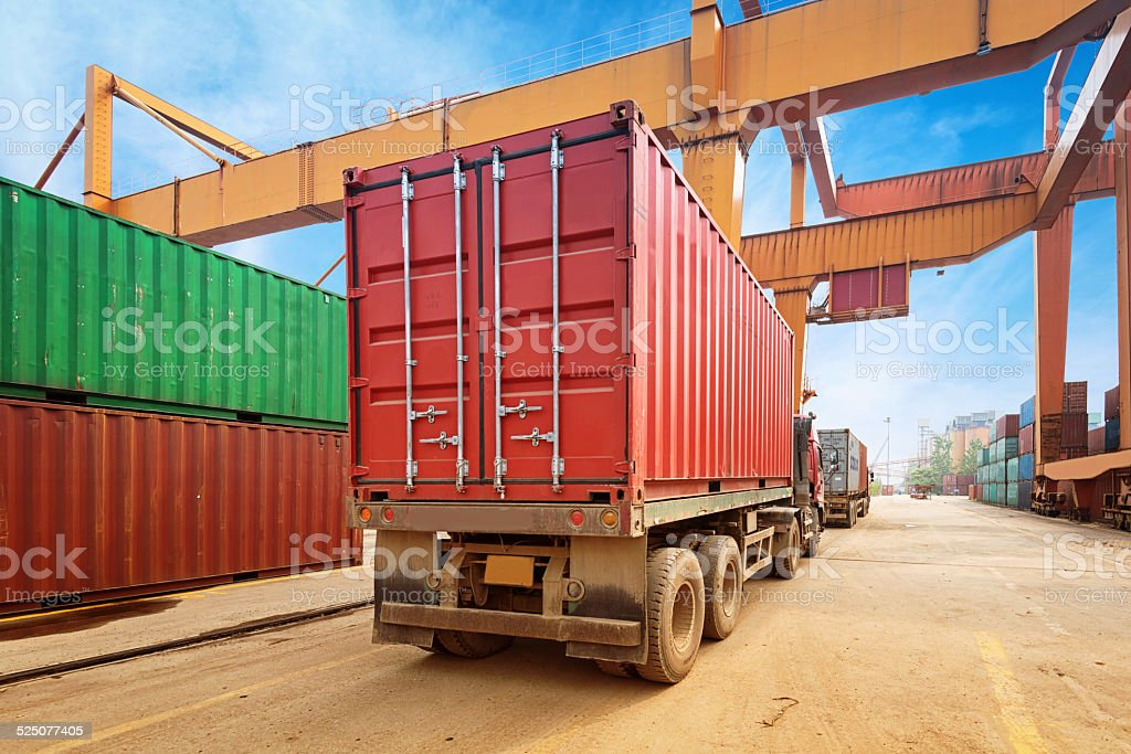 Stack of Cargo Containers at the docks stock photo