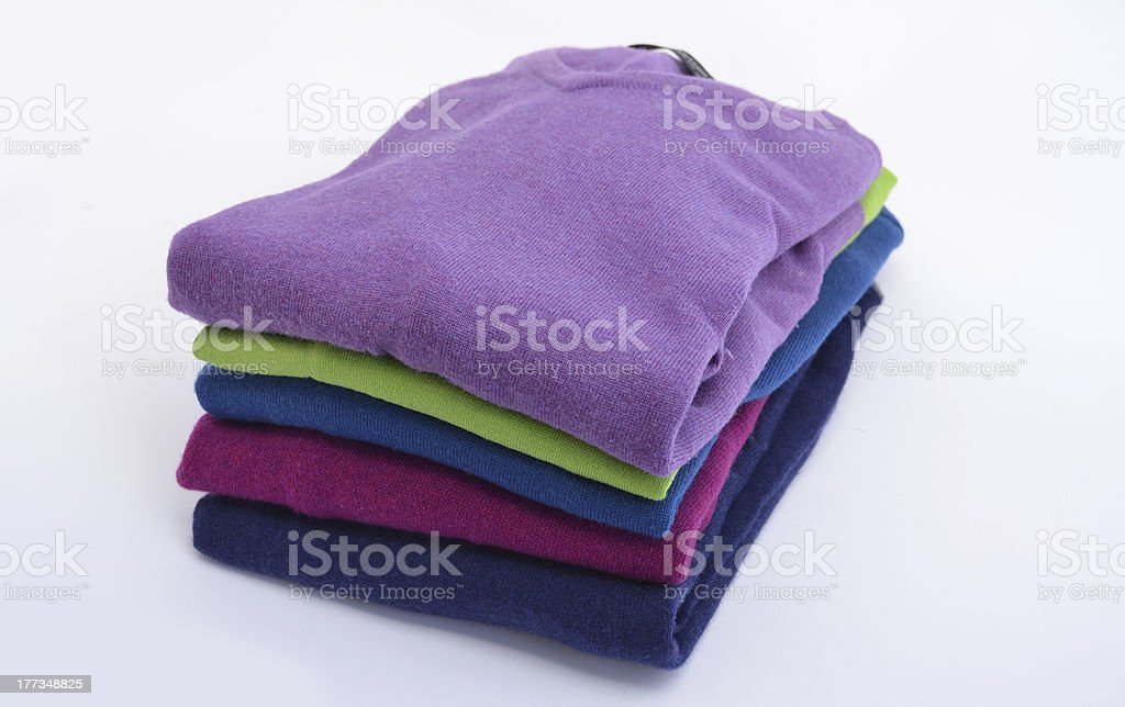 Stack of cashmere sweaters stock photo