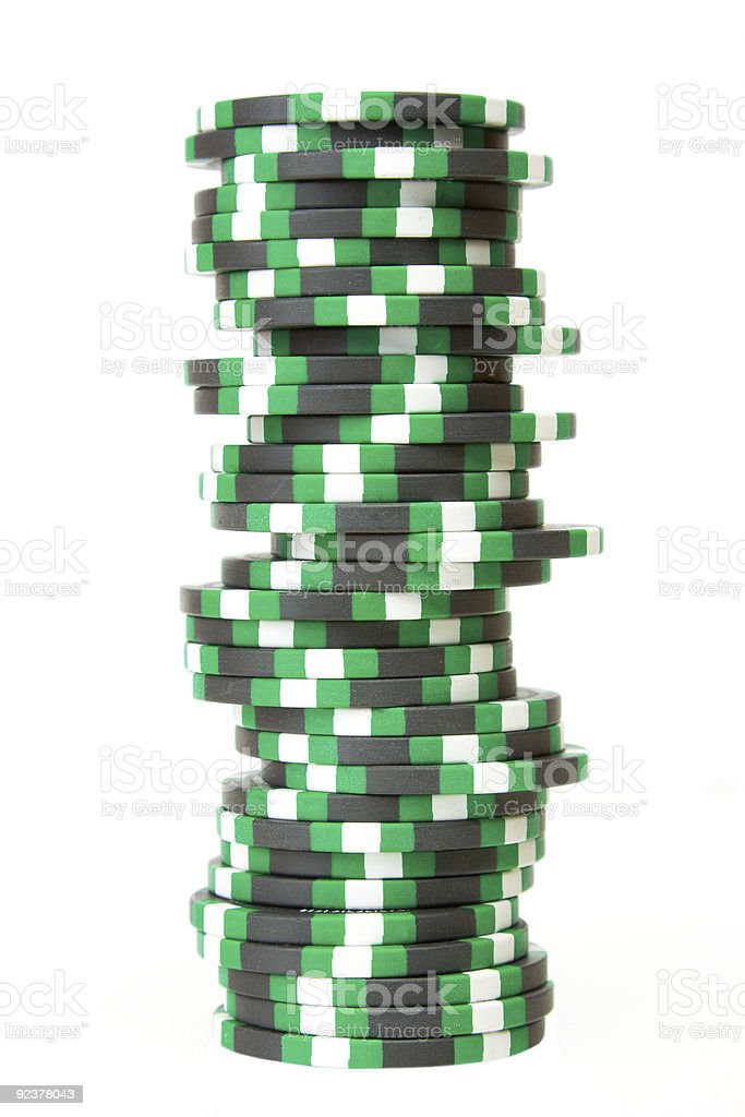 Stack of casino chips isolated over white background royalty-free stock photo