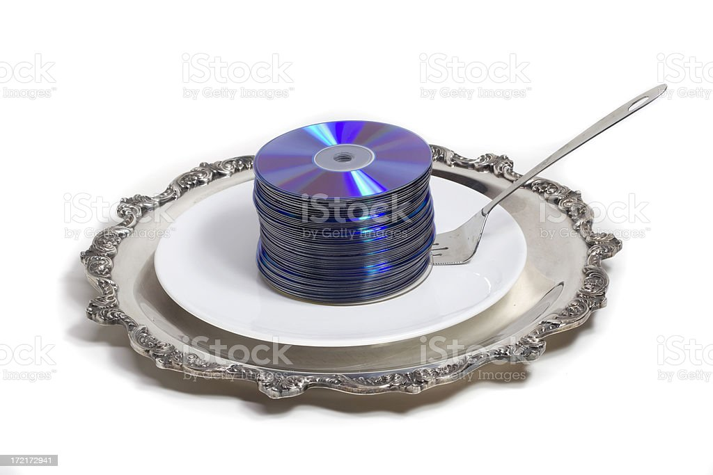Stack of CDs on a serving plate stock photo
