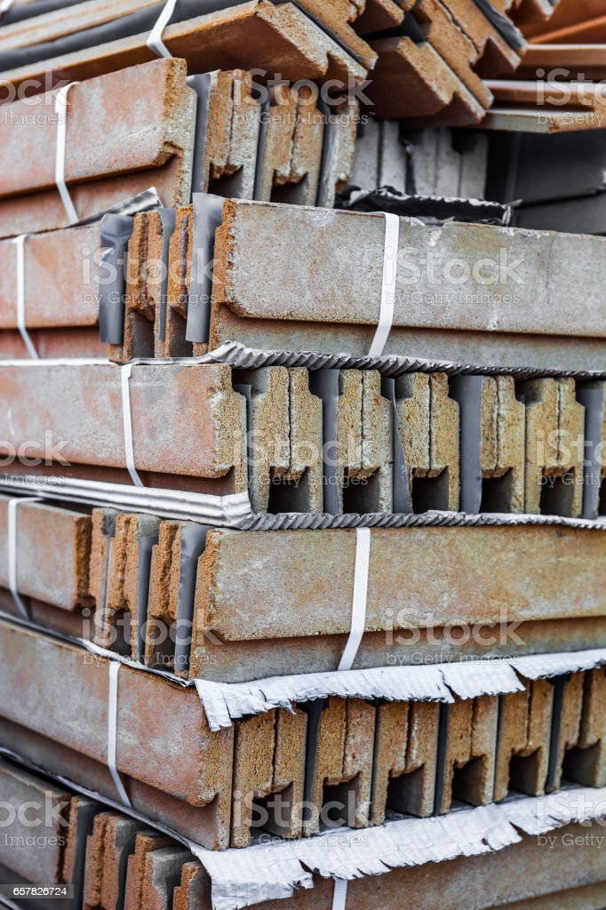 Stack of ceramic construction blocks stock photo