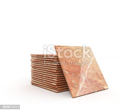 istock Stack of ceramic tile on a white background 3d illustration 809874414