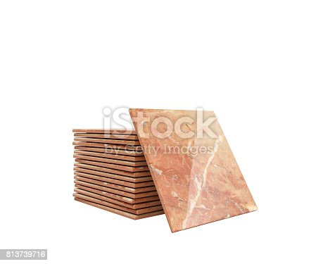 istock Stack of ceramic tile on a white background 3d illustration 813739716