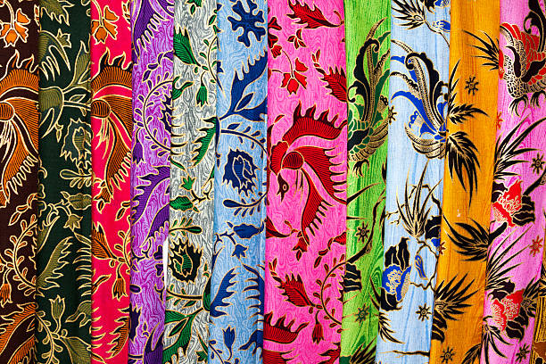 Stack of Cheap Printed Batik at Indonesian Textile-Market stock photo