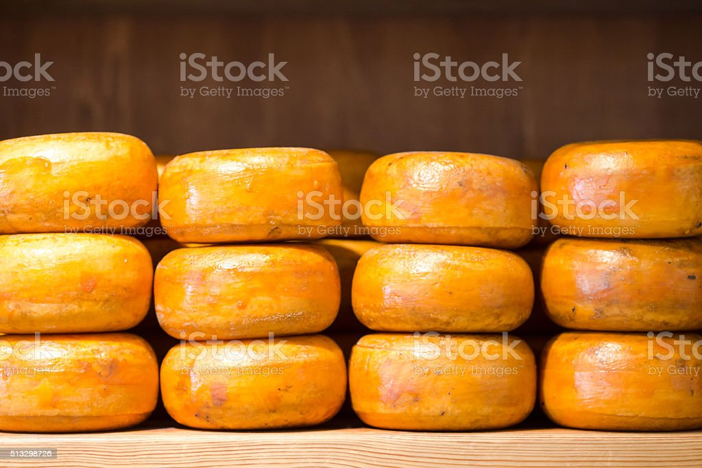Stack of cheese in a shop at Amsterdam, Netherlands stock photo