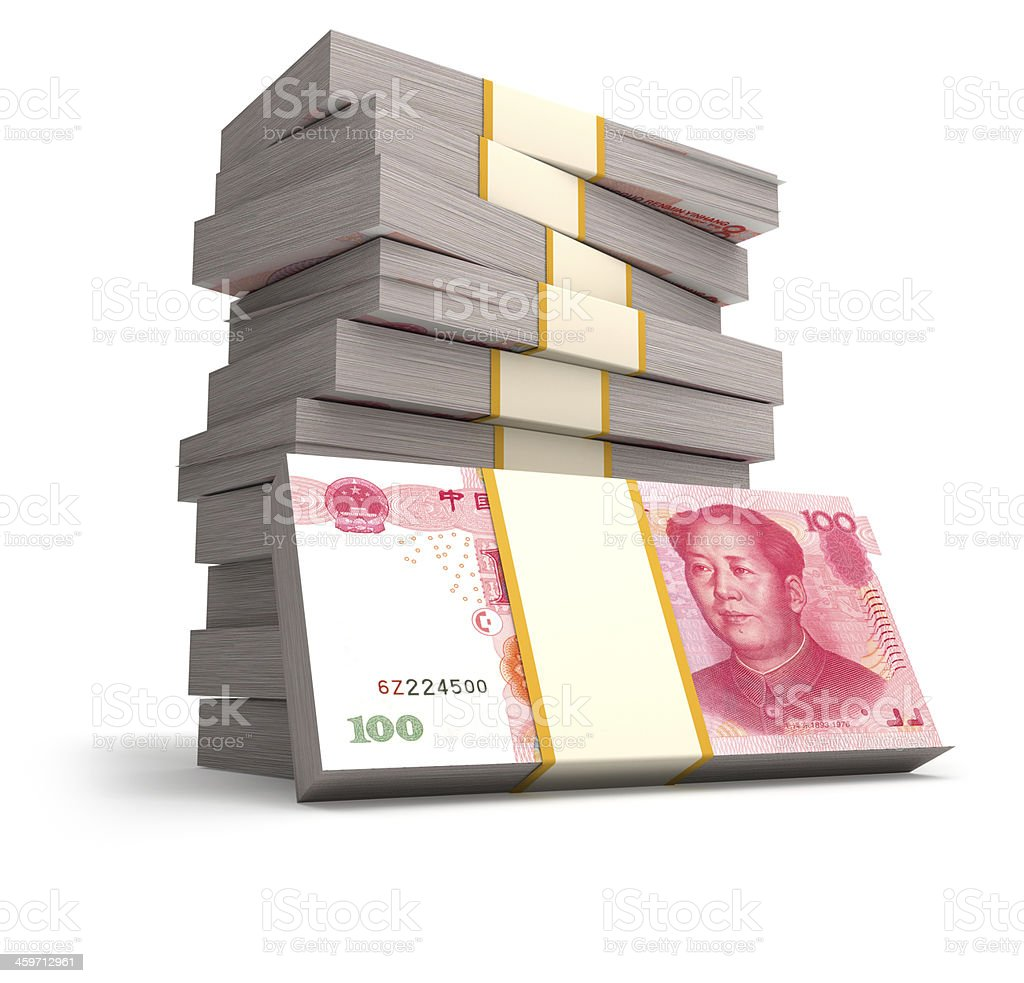 Stack of Chinese Yuans royalty-free stock photo