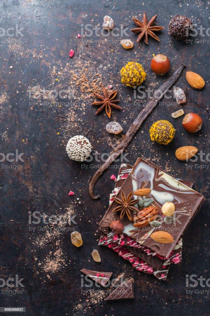 Stack of chocolate bars and praline truffle stock photo