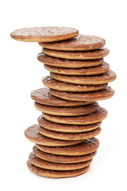 Stack of Chocolate Biscuits stock photo