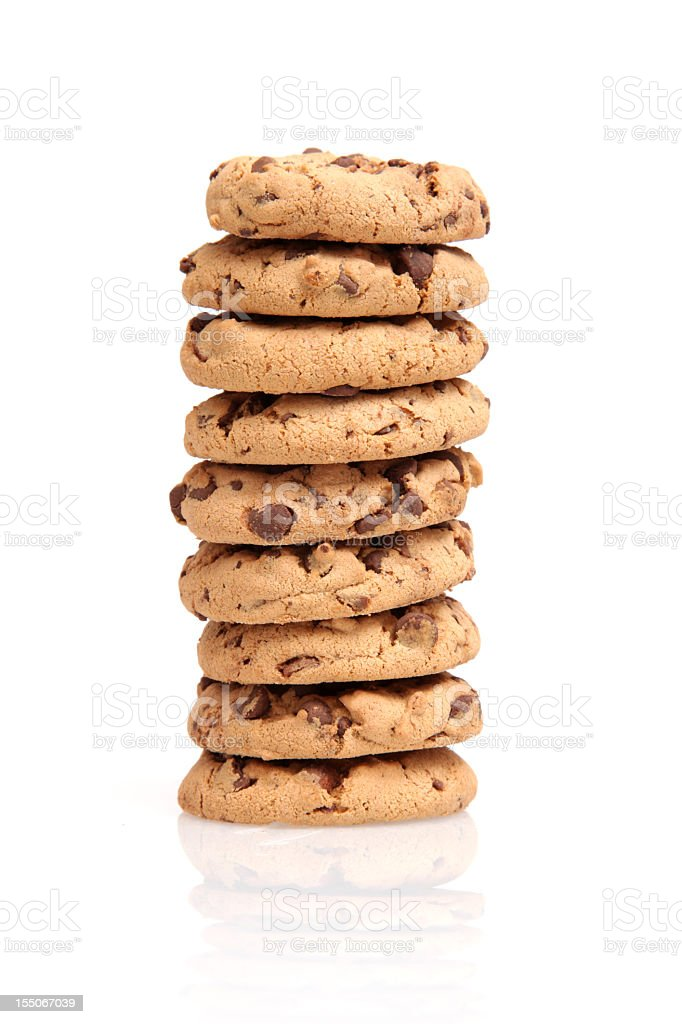 Stack of chocolate chip cookies on a white background royalty-free stock photo