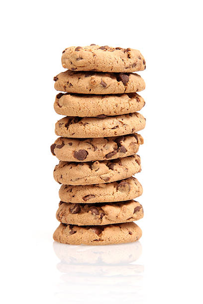 Stack of chocolate chip cookies on a white background stock photo