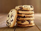 Close up shot of delicious fresh chocolate chip cookies arrangement in studio