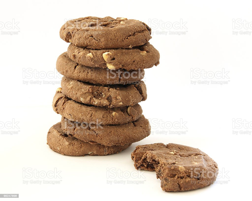 Stack of chocolate chip cookies royalty-free stock photo