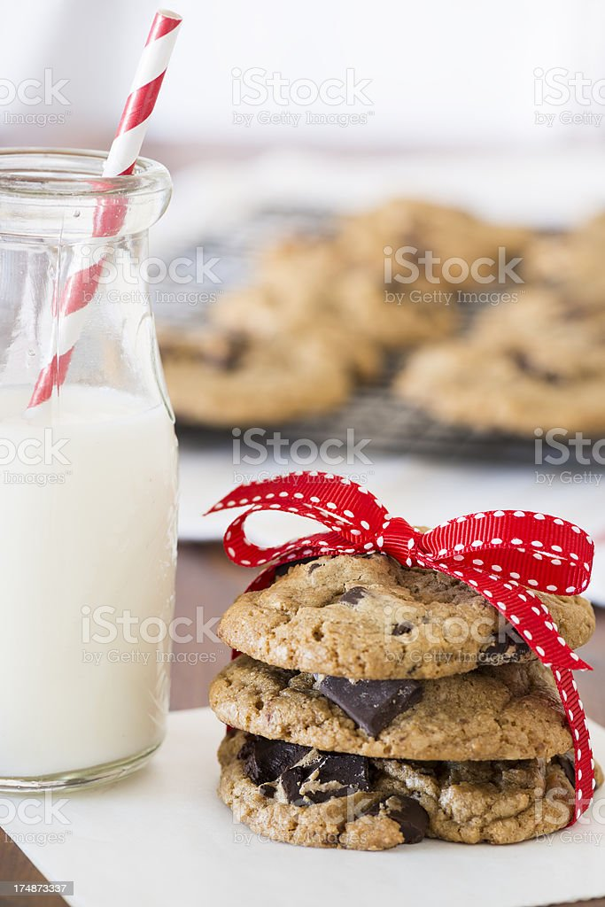 Stack of Chocolate Chip Cookies Vertical with Copy Space royalty-free stock photo