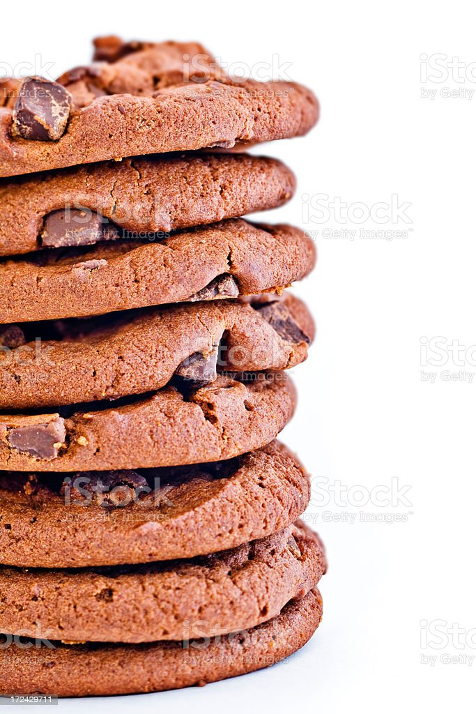 stack of chocolate cookies cropped to left royalty-free stock photo