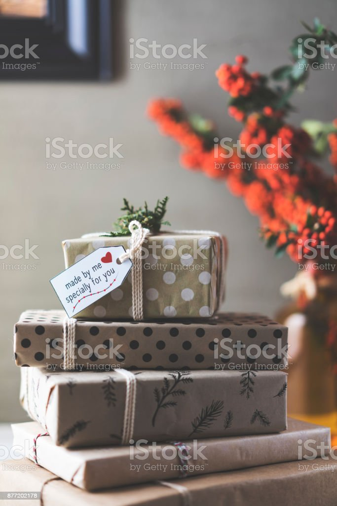 Stack of Christmas gifts, made by me specially for you stock photo