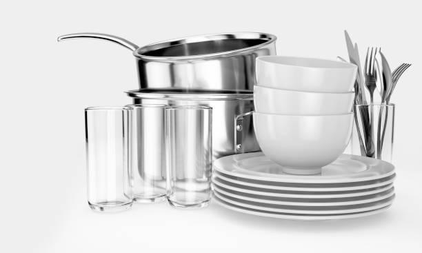 stack av ren köks utrustning - glas porslin bildbanksfoton och bilder