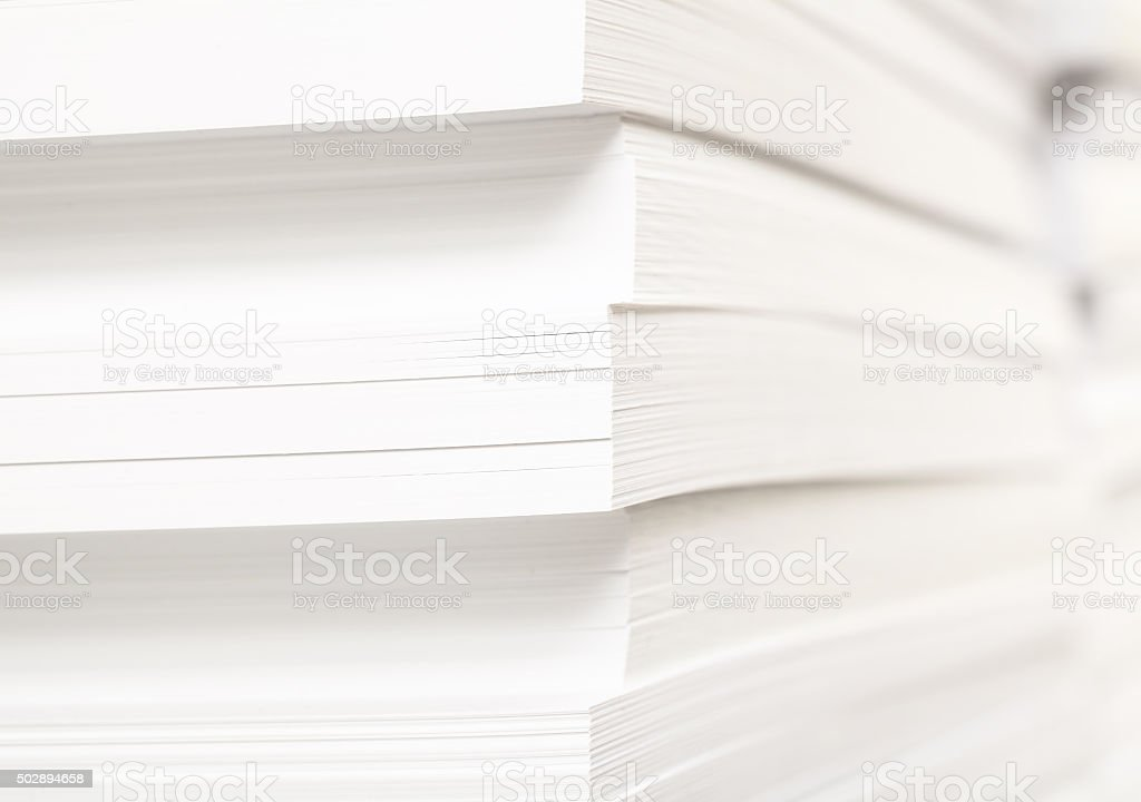 Stack of clean sheets for typographical printing stock photo
