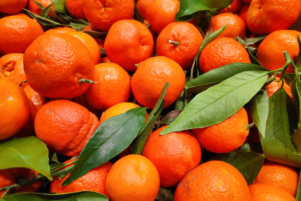 Stack of clementines on a market stall stock photo