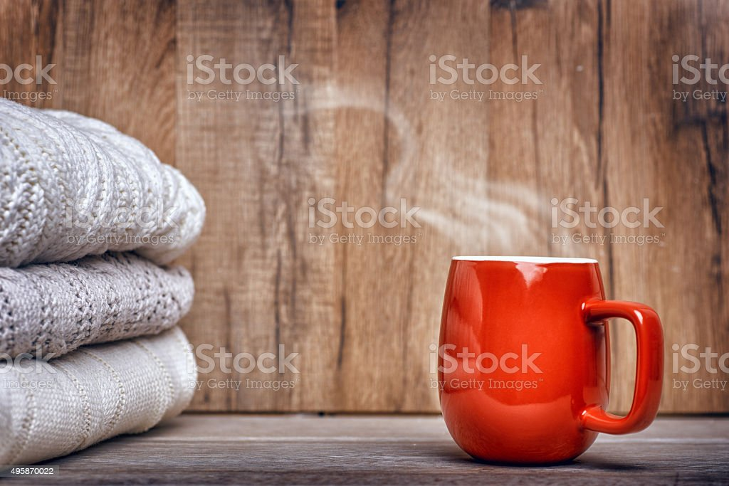 stack of clothes from knitted stock photo