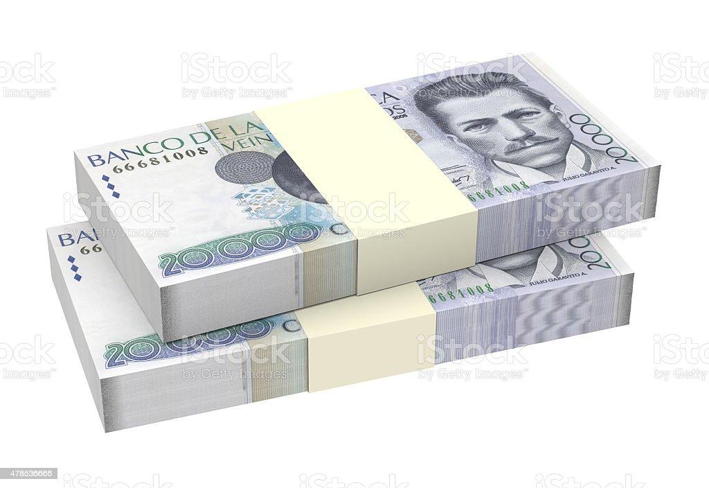 Stack of Colombian pesos bills stock photo