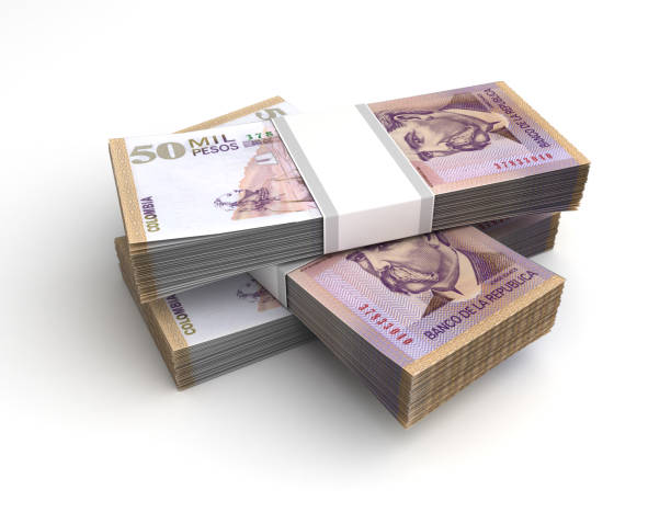 Stack of Colombian Pesos stock photo