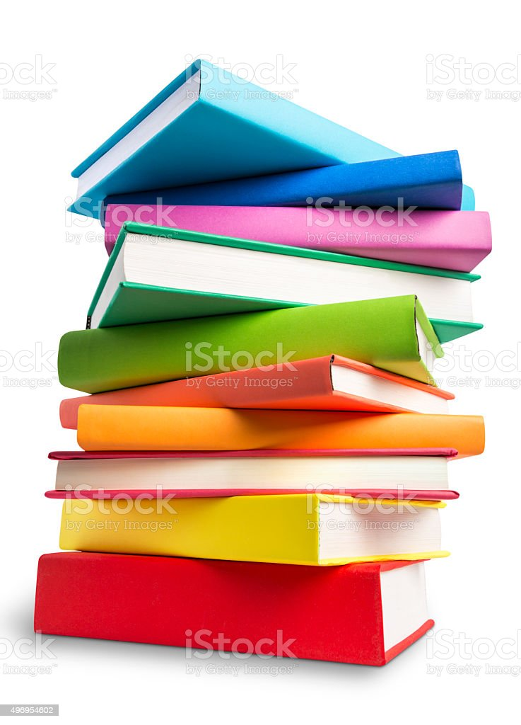 Stack of colored books isolated on white with clipping path stock photo