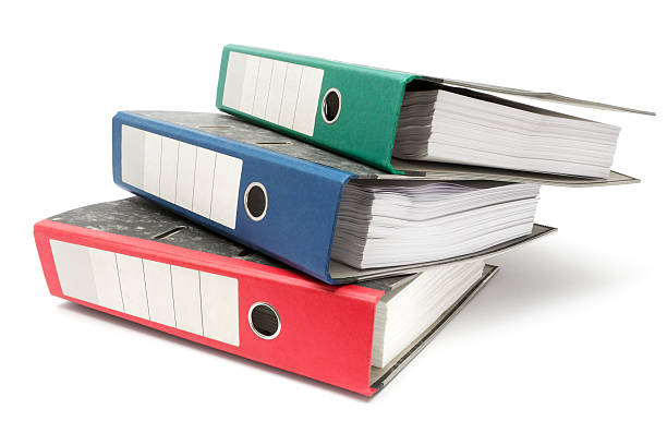 Stack of Colored Ring Binders stock photo