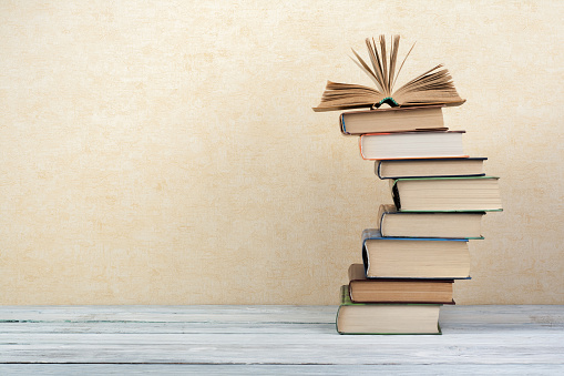 Stack Of Colorful Books Education Background Back To School Book Hardback Colorful Books On Wooden Table Education Business Concept Copy Space For Text Stock Photo - Download Image Now