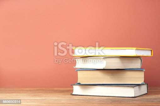 897558204 istock photo Stack of colorful books. Education background. Back to school. Copy space for text. 885650314