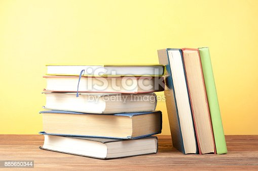 897558204 istock photo Stack of colorful books. Education background. Back to school. Copy space for text. 885650344