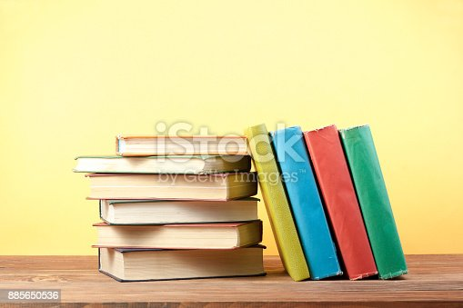 897558204 istock photo Stack of colorful books. Education background. Back to school. Copy space for text. 885650536