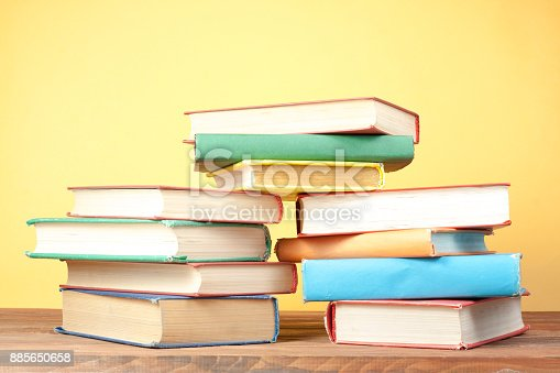 897558204 istock photo Stack of colorful books. Education background. Back to school. Copy space for text. 885650658