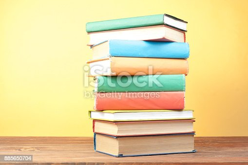 897558204 istock photo Stack of colorful books. Education background. Back to school. Copy space for text. 885650704