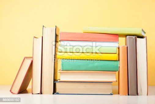 897558204 istock photo Stack of colorful books. Education background. Back to school. Copy space for text. 885655152