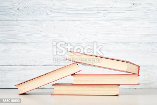897558204 istock photo Stack of colorful books. Education background. Back to school. Copy space for text. 886019690
