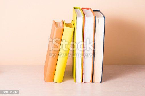 897558204 istock photo Stack of colorful books. Education background. Back to school. Copy space for text. 888019748