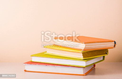 897558204 istock photo Stack of colorful books. Education background. Back to school. Copy space for text. 888026350