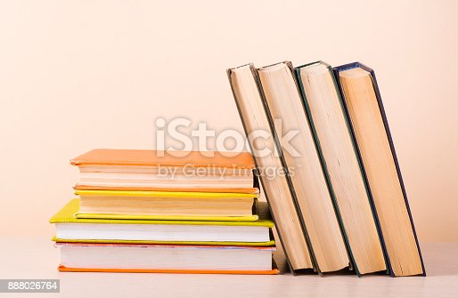 897558204 istock photo Stack of colorful books. Education background. Back to school. Copy space for text. 888026764