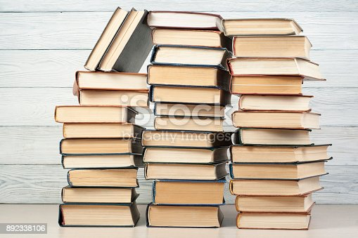 897558204 istock photo Stack of colorful books. Education background. Back to school. Copy space for text. 892338106