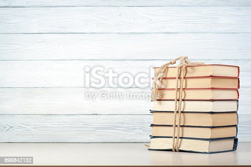 897558204 istock photo Stack of colorful books. Education background. Back to school. Copy space for text. 896842132