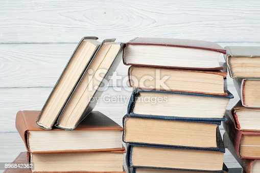 897558204 istock photo Stack of colorful books. Education background. Back to school. Copy space for text. 896842362