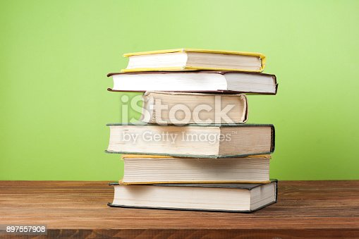 897558204 istock photo Stack of colorful books. Education background. Back to school. Copy space for text. 897557908