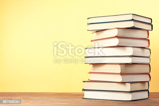 897558204 istock photo Stack of colorful books. Education background. Back to school. Copy space for text. 897558262